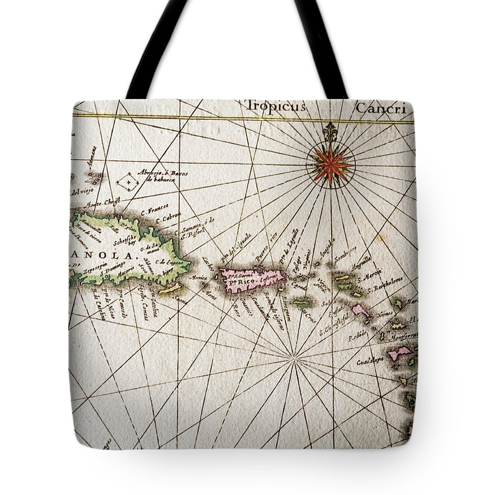 Engraving Tote Bag featuring the digital art Carribean Islands by Goldhafen
