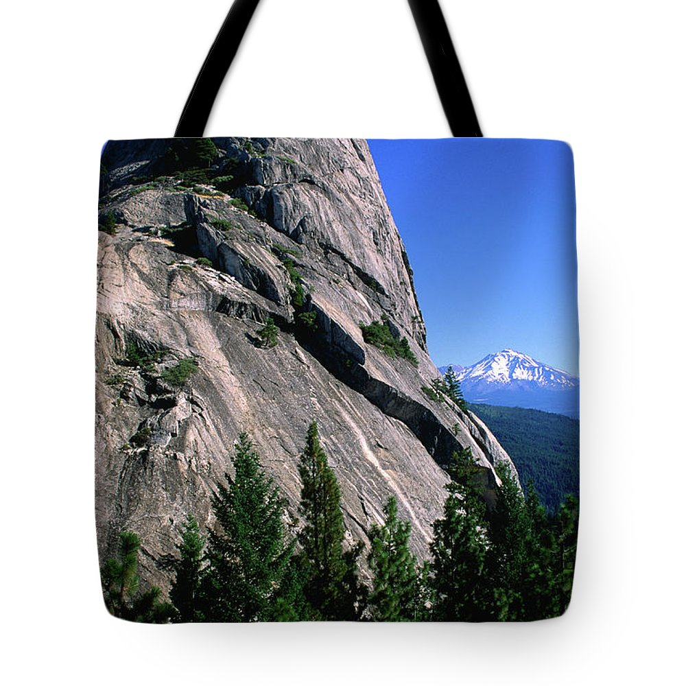Toughness Tote Bag featuring the photograph Castle Crags With Mt Shasta In by John Elk Iii