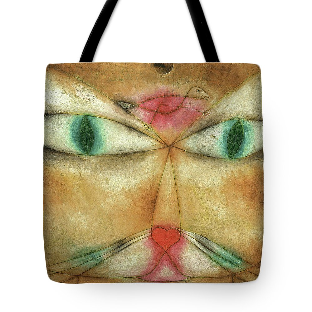 Paul Klee Tote Bag featuring the painting Cat And Bird, 1928 by Paul Klee