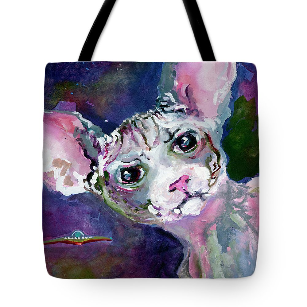 Cats Tote Bag featuring the painting Cat Portrait My Name Is Luna by Ginette Callaway