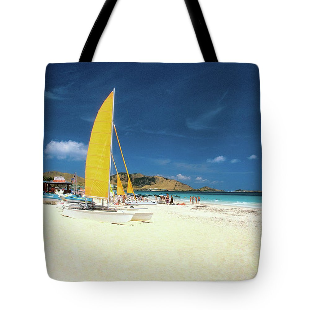 Orient Beach Tote Bag featuring the photograph Catamarans And People On Martin Orient by Medioimages/photodisc
