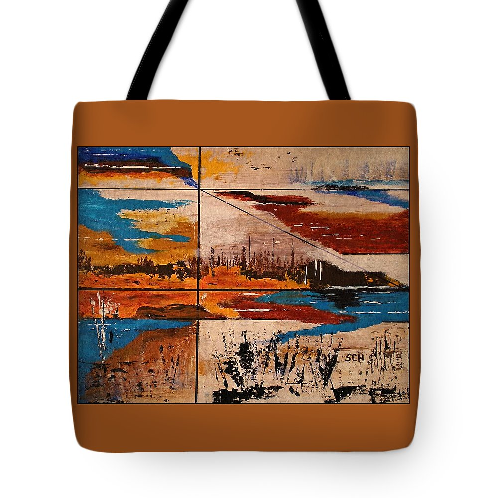 Abstract Tote Bag featuring the painting Catch A Ride To The End Of The Highway by Scott Haley