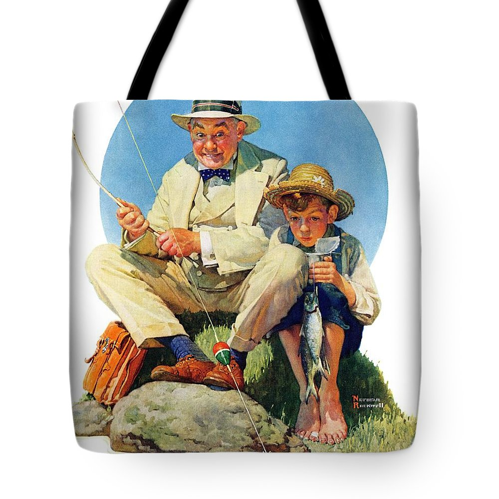 Boy Tote Bag featuring the drawing Catching The Big One by Norman Rockwell