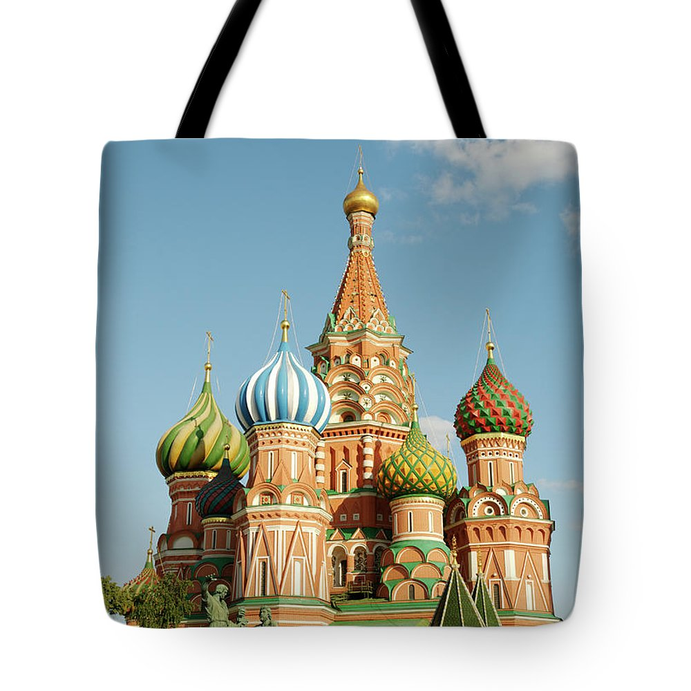 Statue Tote Bag featuring the photograph Cathedral Of Saint Basil The Blessed In by Travelif