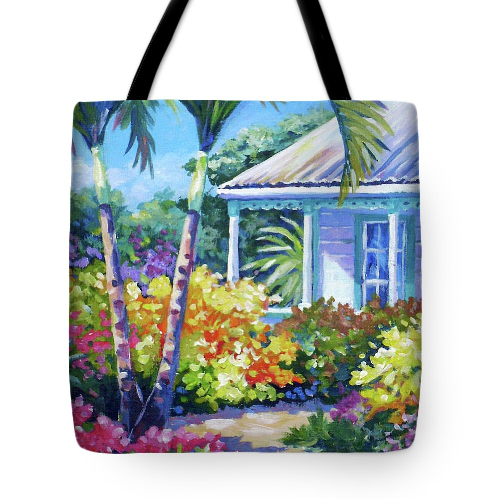 Art Tote Bag featuring the painting Cayman Yard by John Clark