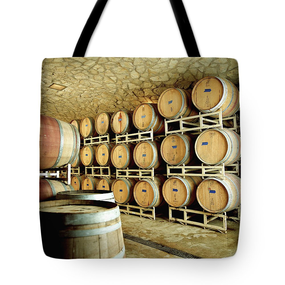 Aging Process Tote Bag featuring the photograph Cellar In Winery by Siri Stafford