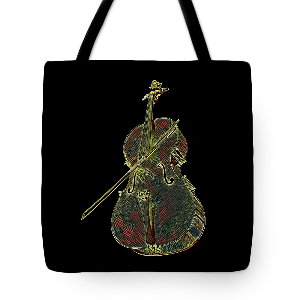 Cool Tote Bag featuring the digital art Cello Music Instrument Professional Musician Designed by Super Katillz