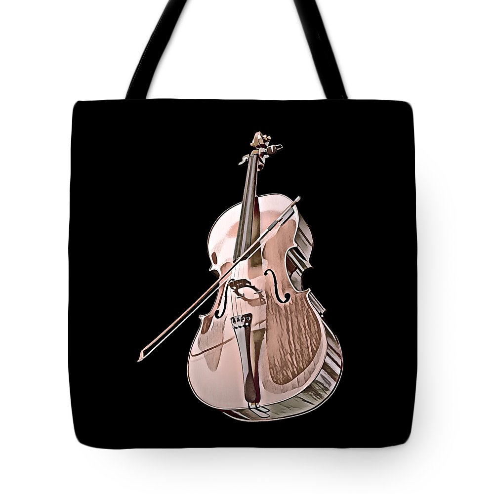 Cool Tote Bag featuring the digital art Cello String Music Instrument Musician Color Designed by Super Katillz