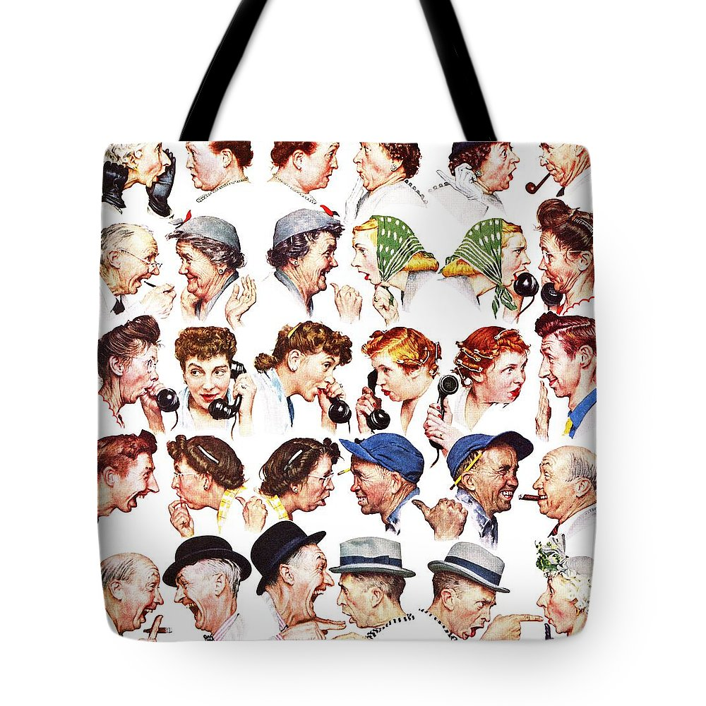 Gossiping Tote Bag featuring the drawing Chain Of Gossip by Norman Rockwell
