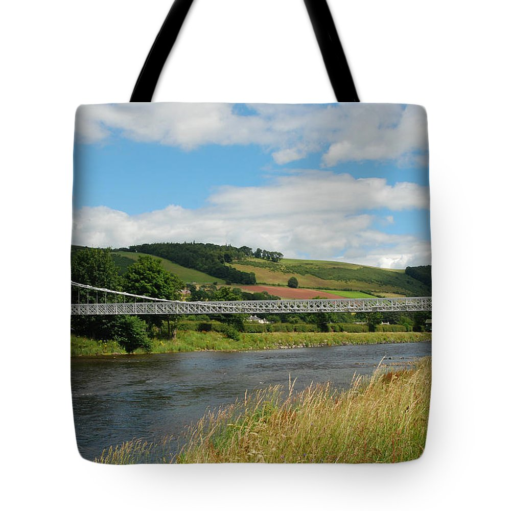 Bridge Tote Bag featuring the photograph chainbridge over river Tweed at Melrose by Victor Lord Denovan