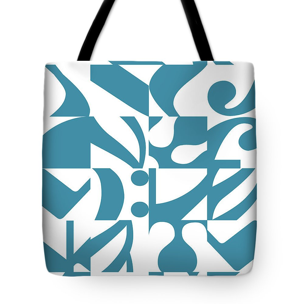 Musical Notes Tote Bag featuring the digital art Chamber Music Blue And White Collage With Notes And Musical Elements by Desmond Bates