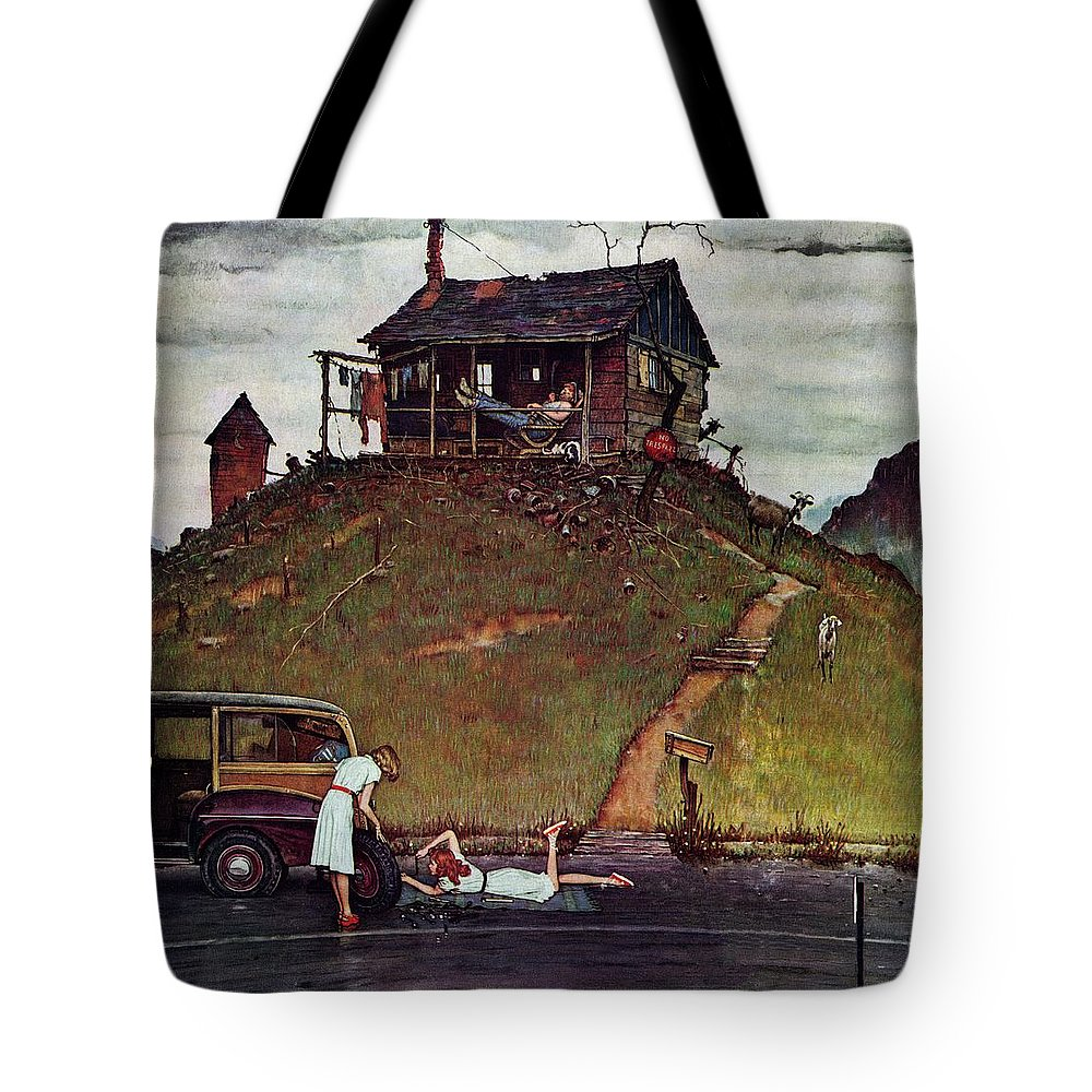 Automobiles Tote Bag featuring the drawing Changing A Flat by Norman Rockwell