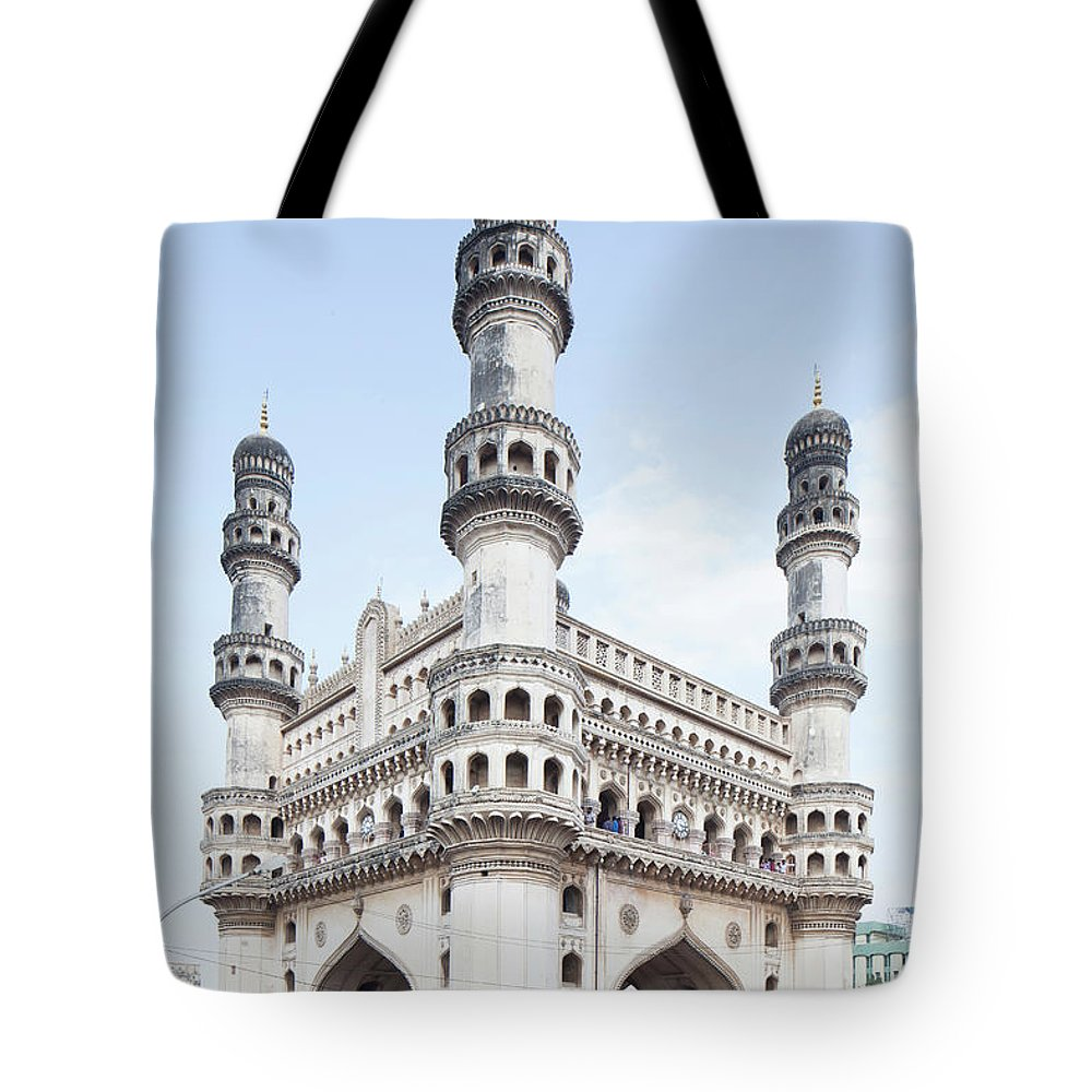 Arch Tote Bag featuring the photograph Charminar Monument In Hyderabad by Jasper James