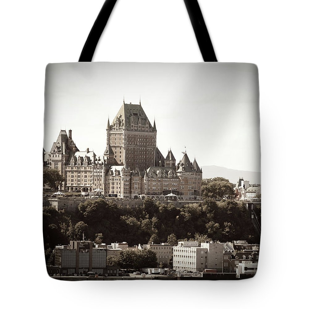 Copper Tote Bag featuring the photograph Chateau Frontenac From Levis, Quebec by Onfokus