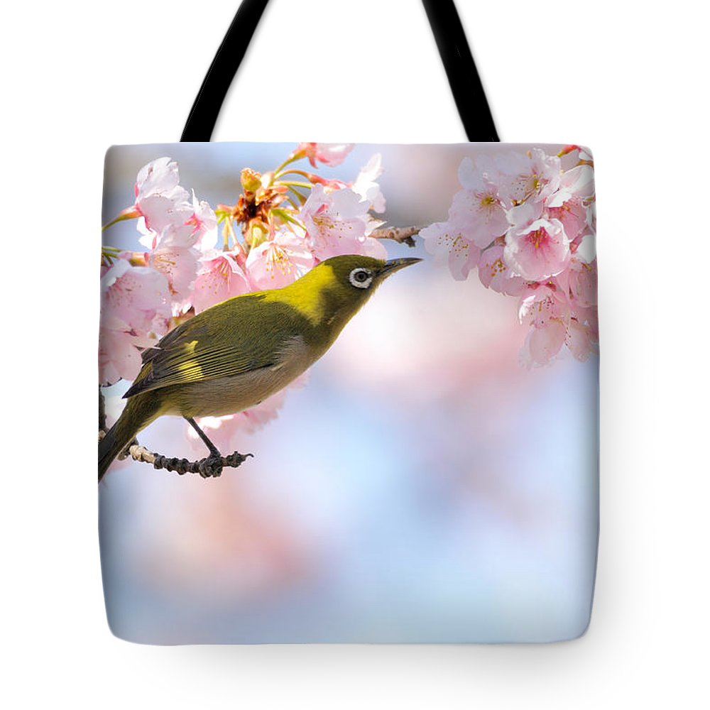 Animal Themes Tote Bag featuring the photograph Cherry Blossoms by Myu-myu
