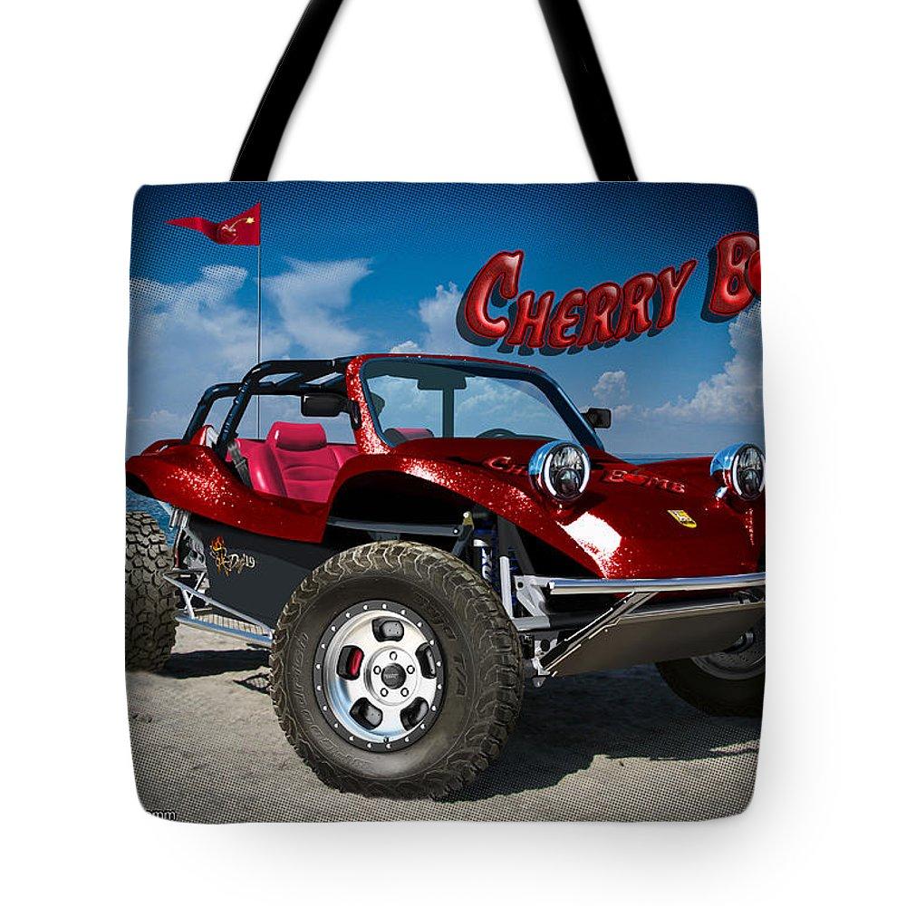 Meyers Manx Tote Bag featuring the digital art Cherry Bomb by Doug Schramm