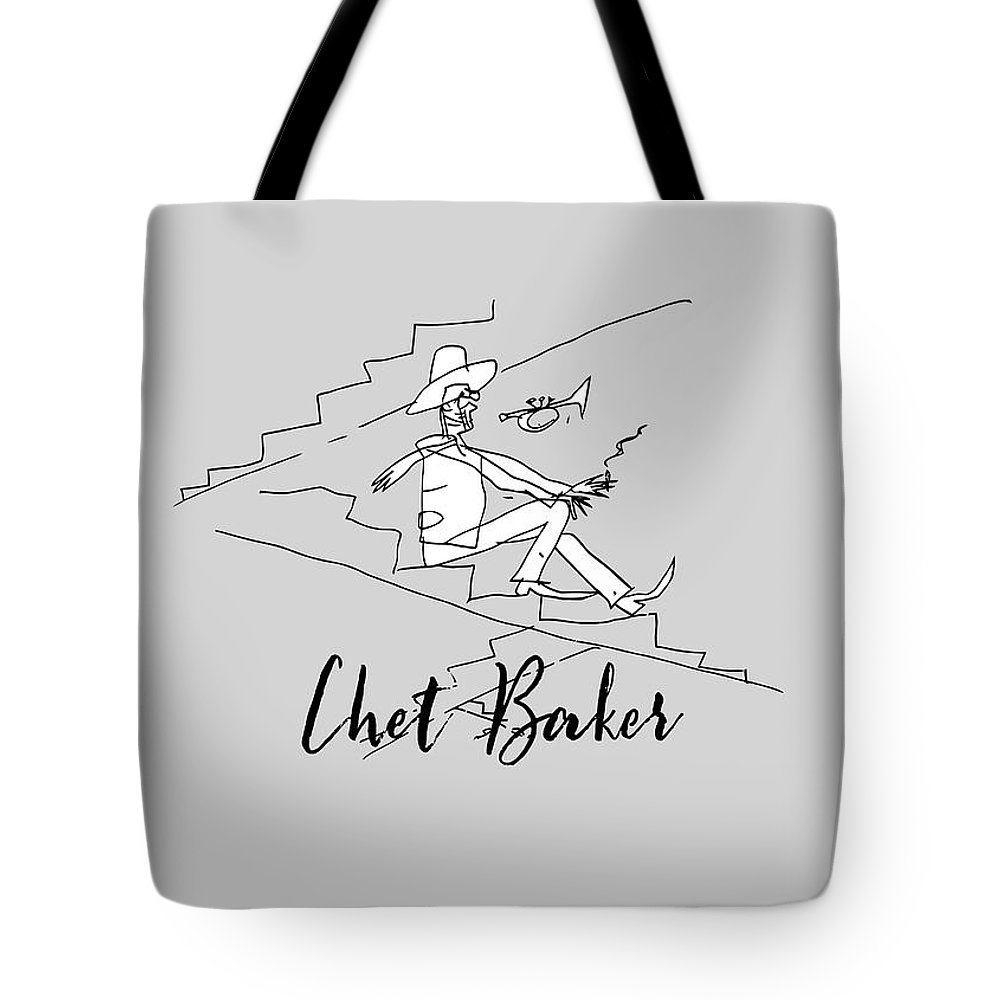 Jazz Tote Bag featuring the drawing Chet Baker by BlackLineWhite Art