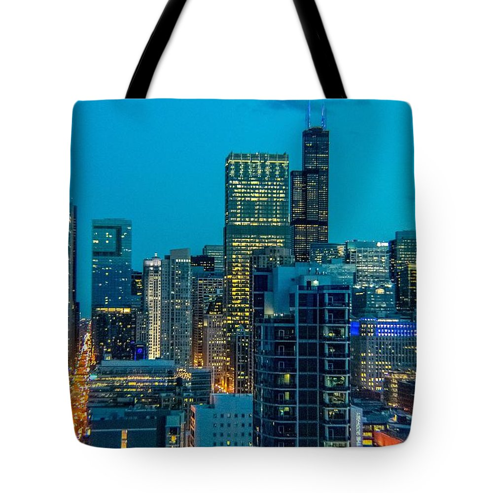 Chicago Tote Bag featuring the photograph Chicago At Night by Bobby King