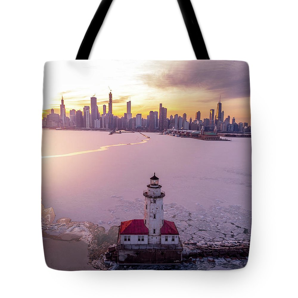 Chicago Tote Bag featuring the photograph Chicago Harbor Lighthouse Sunset by Bobby King