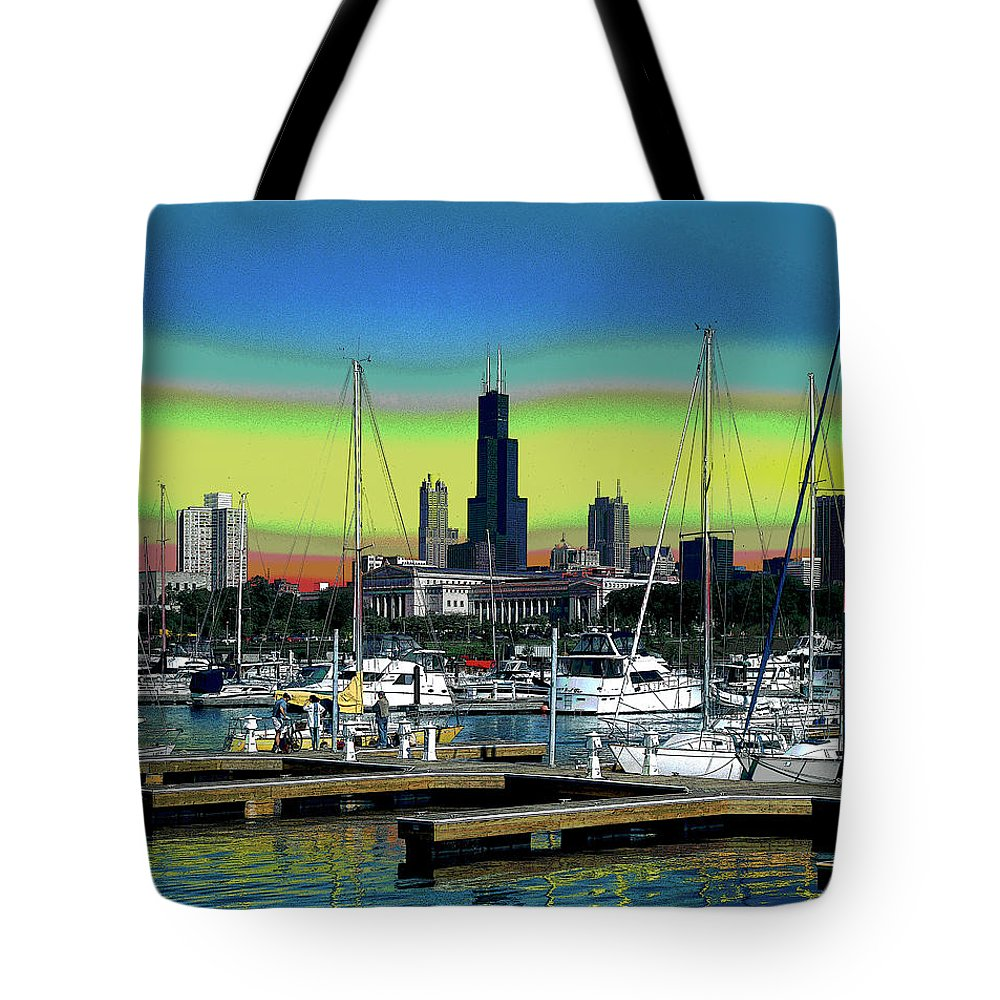 America Tote Bag featuring the mixed media Chicago Marina by Charles Shoup