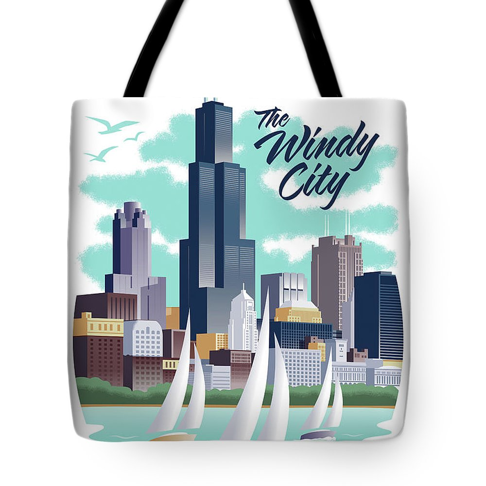 Art Deco Tote Bag featuring the digital art Chicago Poster - Vintage Travel by Jim Zahniser