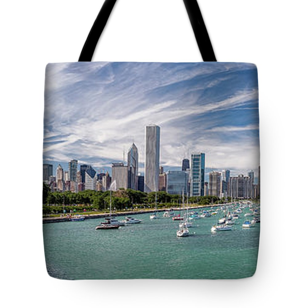 3scape Tote Bag featuring the photograph Chicago Skyline Daytime Panoramic by Adam Romanowicz