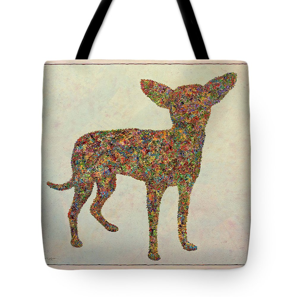Chihuahua Tote Bag featuring the painting Chihuahua-shape by James W Johnson