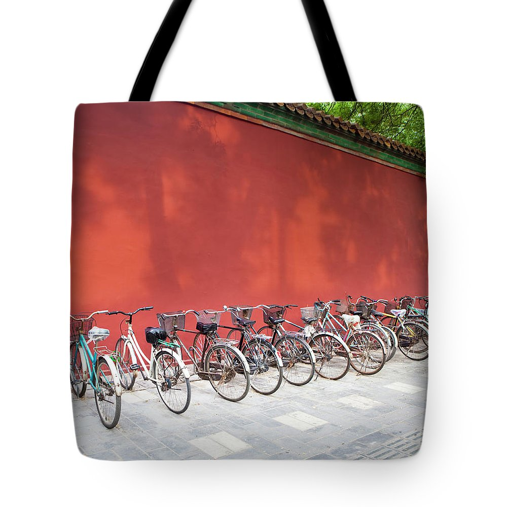 Shadow Tote Bag featuring the photograph Chinese Bikes by Sam Diephuis