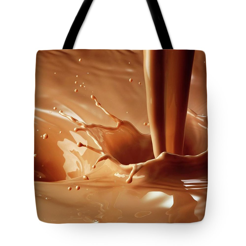 Protein Drink Tote Bag featuring the photograph Chocolate Milk Pour And Splash by Jack Andersen