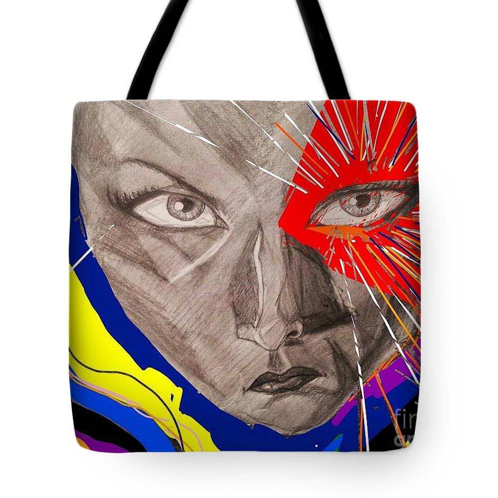 Female Tote Bag featuring the mixed media Christine 2 by Mark Bradley