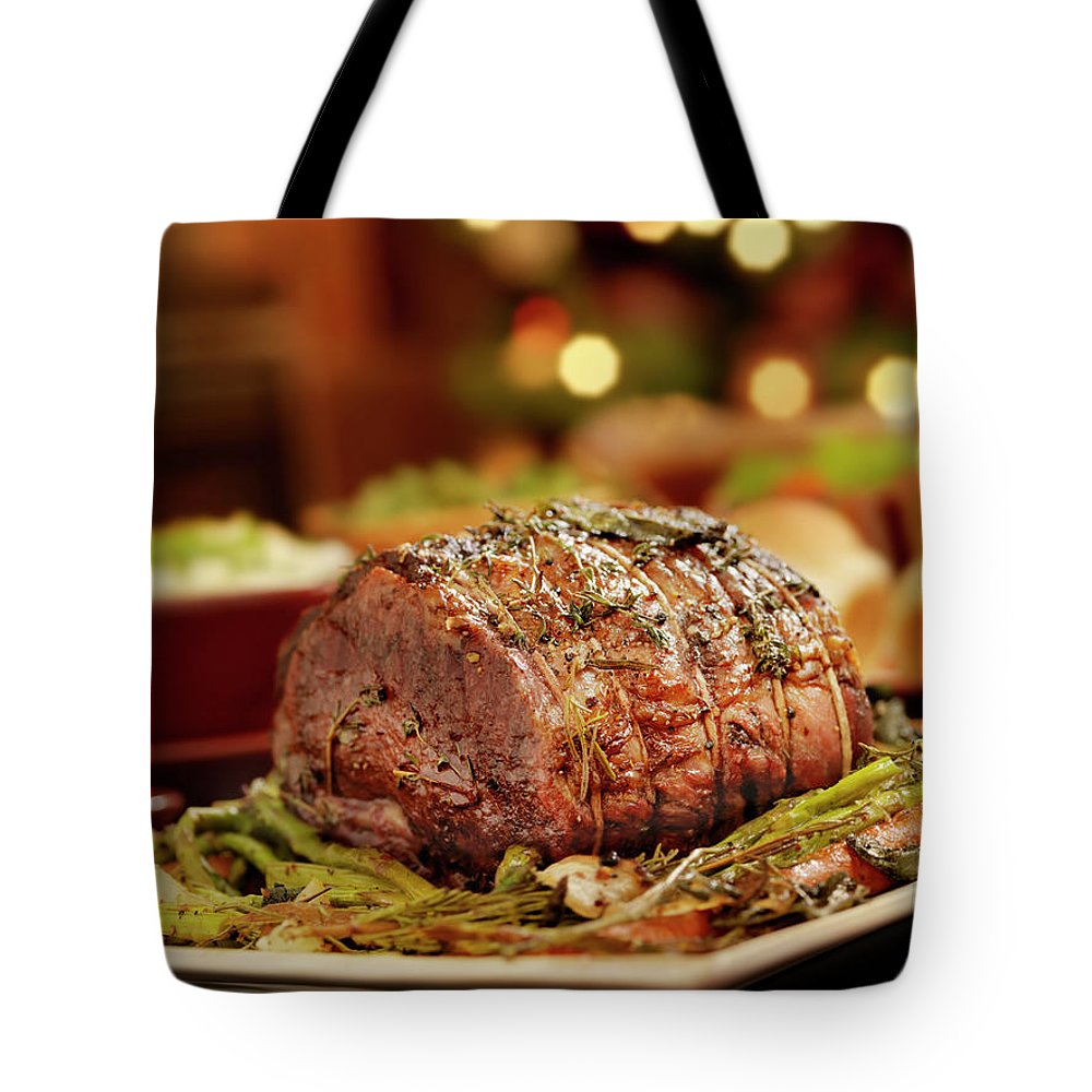 Roast Dinner Tote Bag featuring the photograph Christmas Roast Beef Dinner by Lauripatterson
