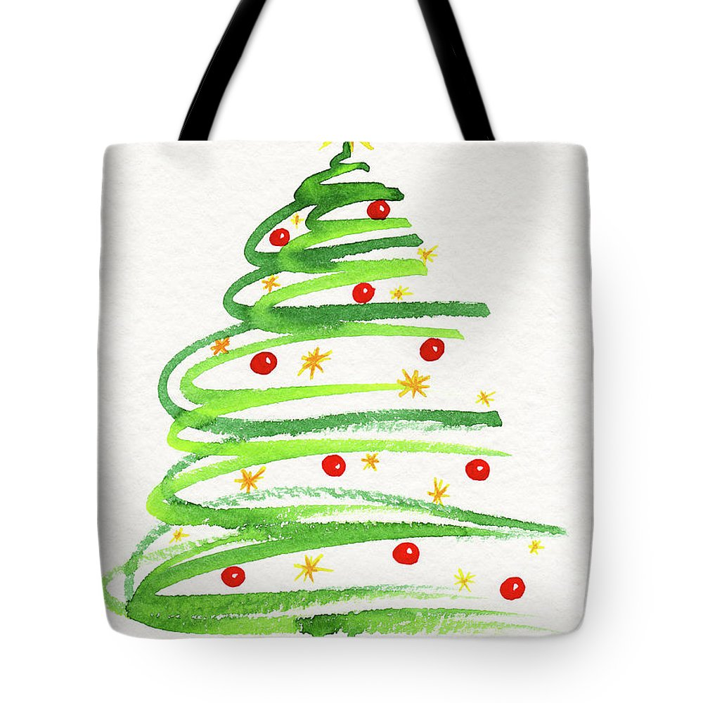 Season Tote Bag featuring the painting Christmas Tree With Decoration by Karen Kaspar