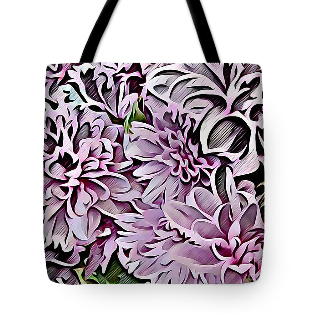 Chrysanthemum Abstract Tote Bag featuring the digital art Chrysanthemum Abstract. by Trudee Hunter
