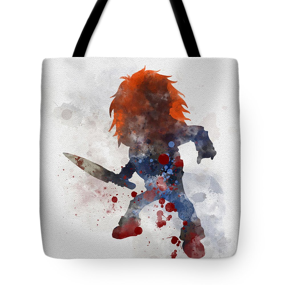 Chucky Tote Bag featuring the mixed media Chucky by Rebecca Jenkins