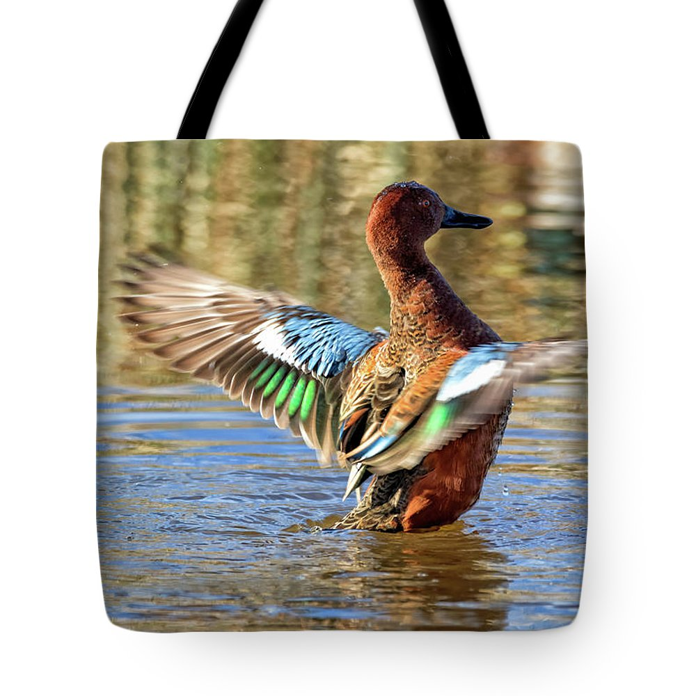 Cinnamon Teal Tote Bag featuring the photograph Cinnamon Teal Celebrating by Kathleen Bishop