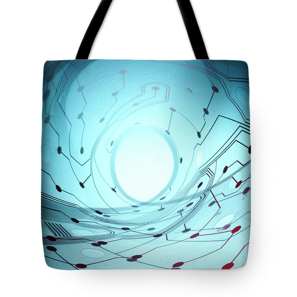 Electrical Component Tote Bag featuring the photograph Circuit Board by Newbird