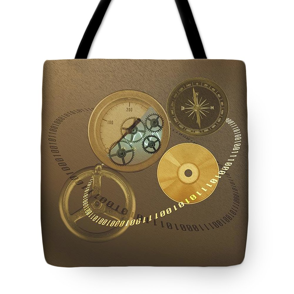 The Media Tote Bag featuring the photograph Circular Objects And Binary Code, Cg by Daj