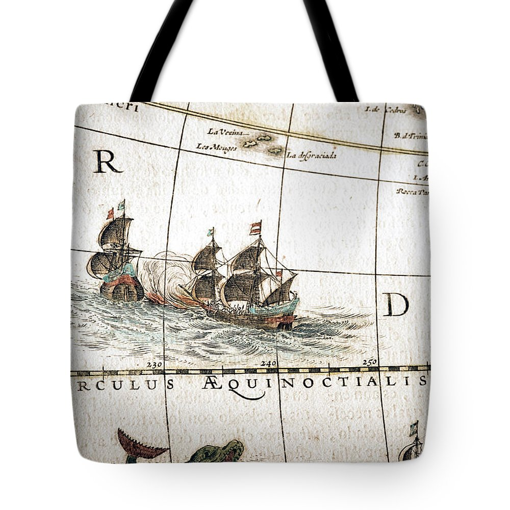 Engraving Tote Bag featuring the digital art Circulus Aequinoctalis, Historical Map by Goldhafen