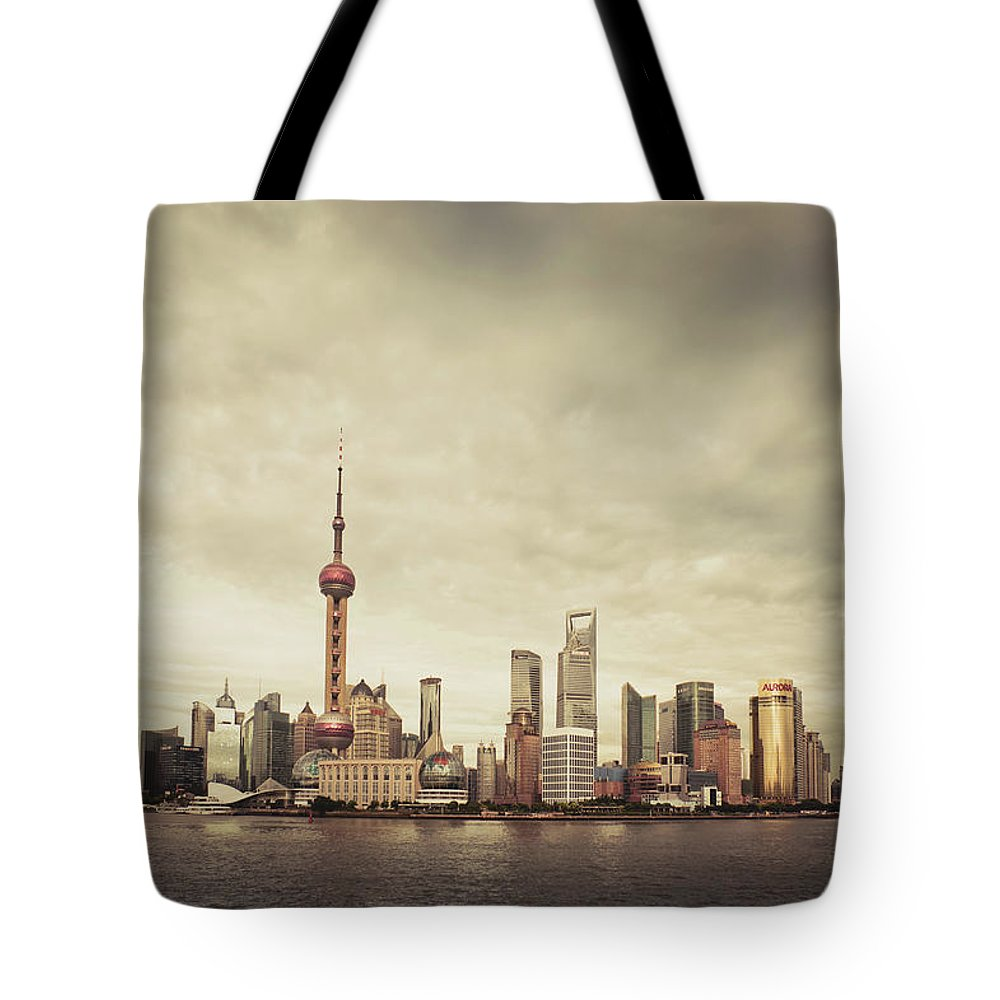 Communications Tower Tote Bag featuring the photograph City Skyline At Sunset, Shanghai, China by D3sign