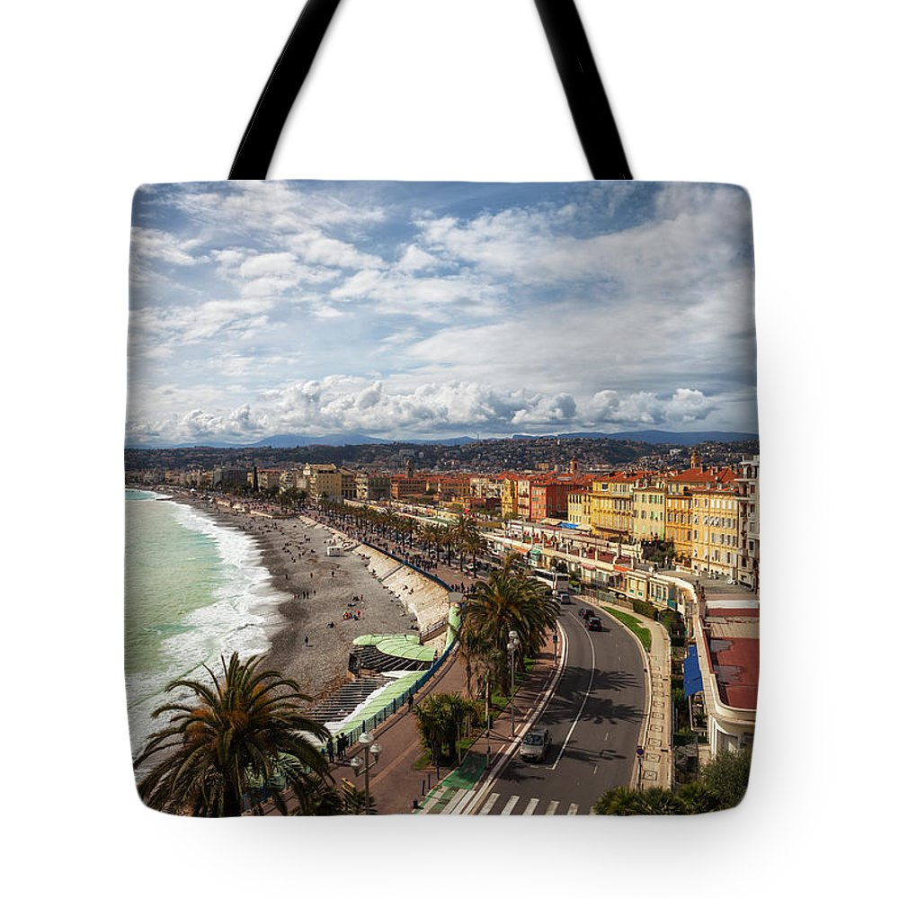 Nice Tote Bag featuring the photograph City Skyline Of Nice In France by Artur Bogacki