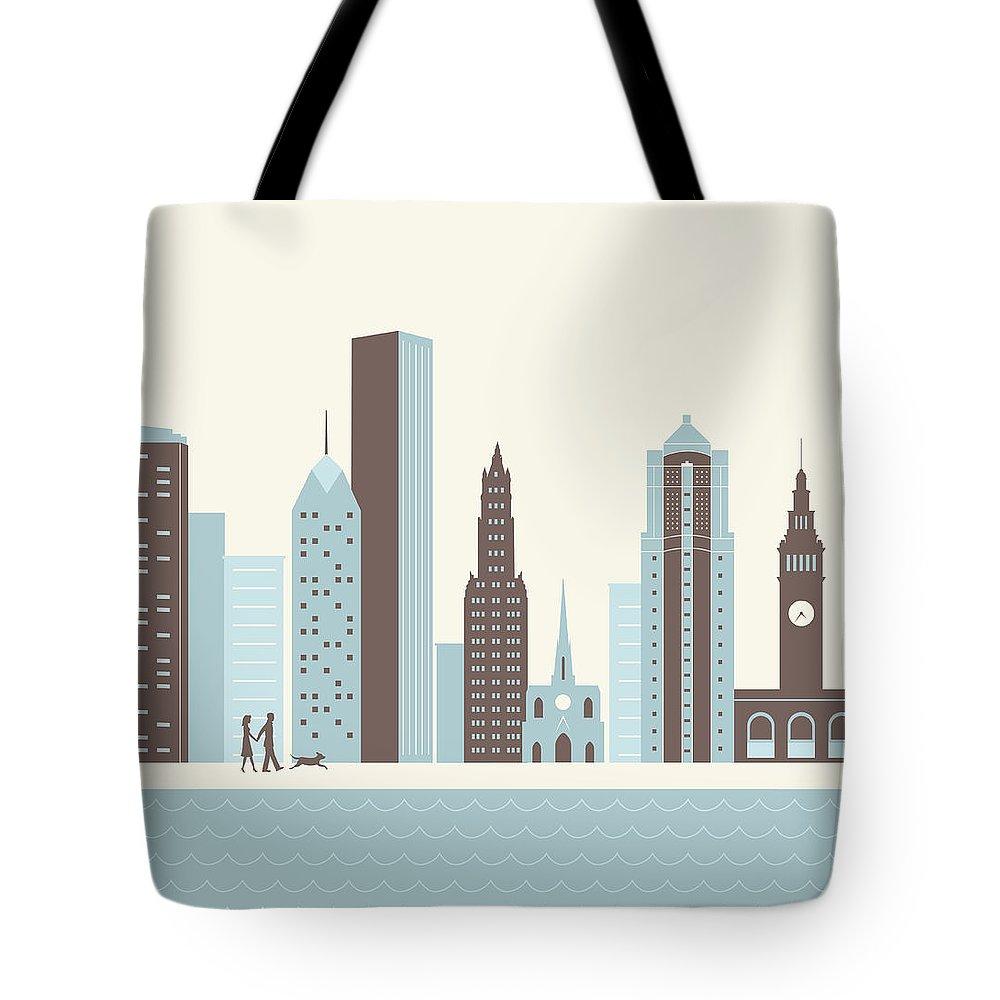Heterosexual Couple Tote Bag featuring the digital art City Walk by Hey Darlin
