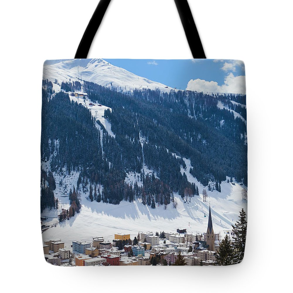 Snow Tote Bag featuring the photograph Cityscape Of Davos, Grisons, Switzerland by Werner Dieterich