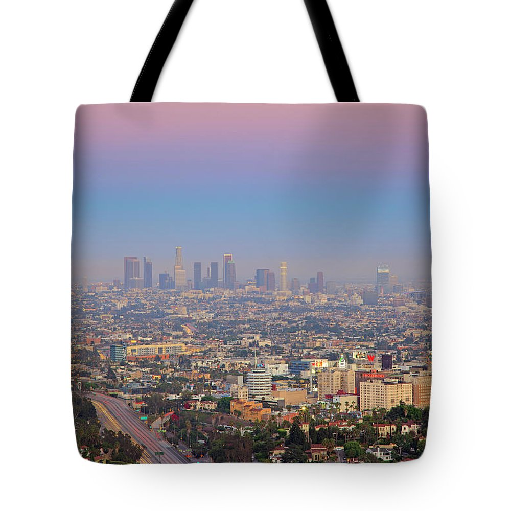 California Tote Bag featuring the photograph Cityscape Of Los Angeles by Eric Lo