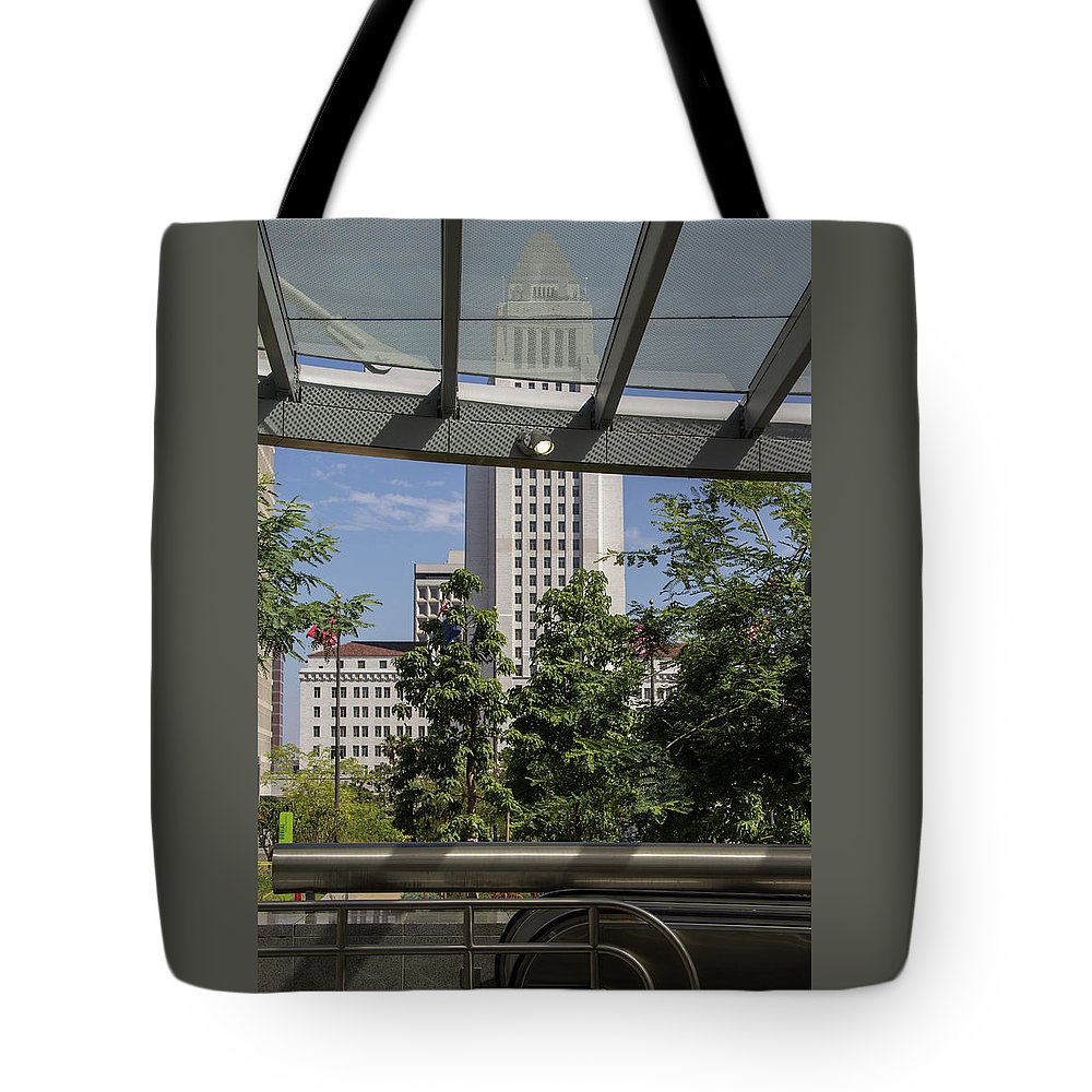 City Hall Tote Bag featuring the photograph Civic Center Metro Station Los Angeles by Roslyn Wilkins