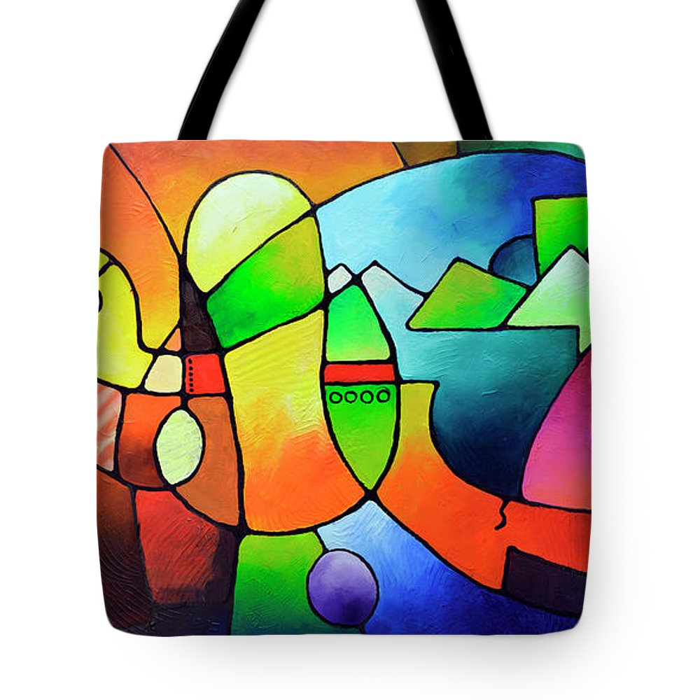 Geometric Painting Tote Bag featuring the painting Clarity Of Focus by Sally Trace
