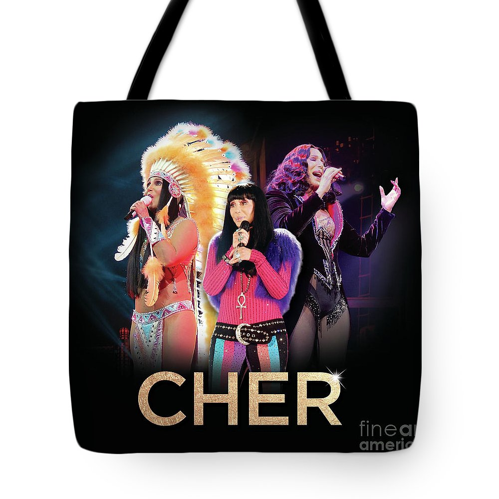 Cher Tote Bag featuring the digital art Classic Cher Trio by Cher Style