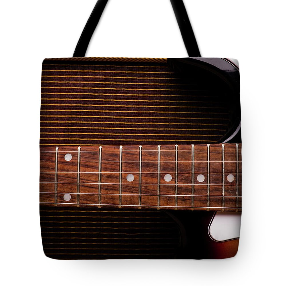 Rock Music Tote Bag featuring the photograph Classic Electric Guitar And Amp Still by Halbergman