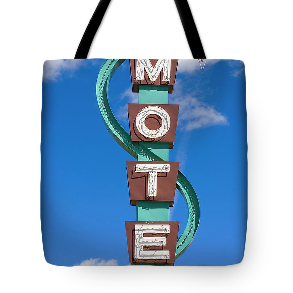 In A Row Tote Bag featuring the photograph Classic Motel Sign by Elementalimaging