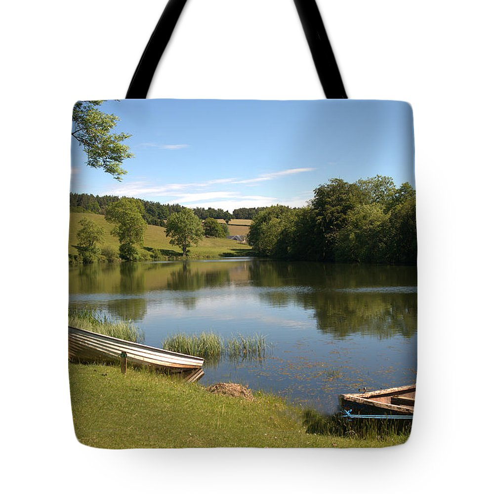 Clerklands Tote Bag featuring the photograph Clerklands Loch, Near Selkirk, Scottish Borders by Victor Lord Denovan