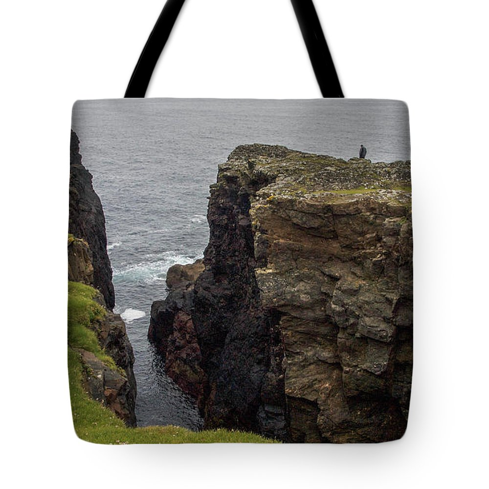 Cliff Tote Bag featuring the photograph Cliff Vigil At Esha Ness On Shetland Mainland by Sallye Wilkinson